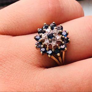 Vintage 10k Gold Diamond Sapphire Cocktail Ring